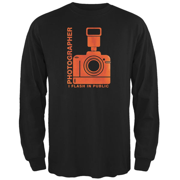 Photographer Flash in Public Funny Black Adult Long Sleeve T-Shirt