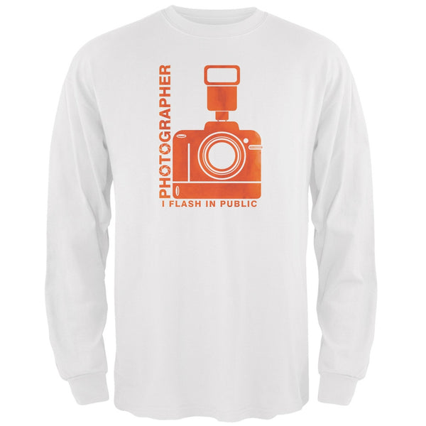 Photographer Flash in Public Funny White Adult Long Sleeve T-Shirt