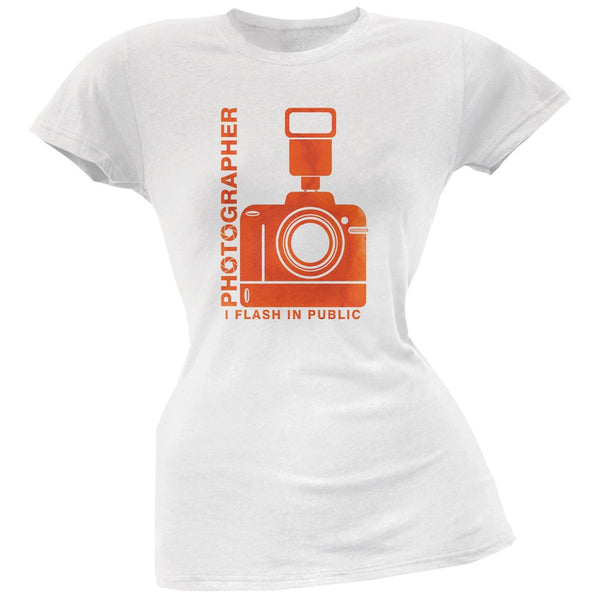 Photographer Flash in Public Funny White Juniors Soft T-Shirt