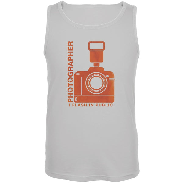 Photographer Flash in Public Funny White Adult Tank Top