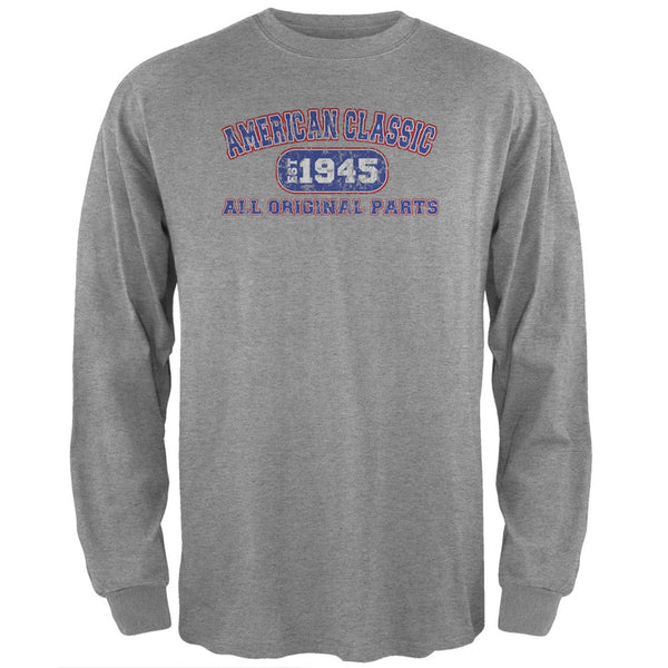 Classic American 1945 Funny Heather Grey Adult Long Sleeve T-Shirt