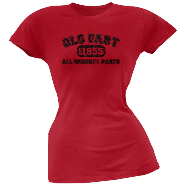 Old Fart Original Parts 1955 Funny Red Juniors Soft T-Shirt