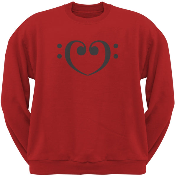 Bass Clef Heart Red Adult Sweatshirt