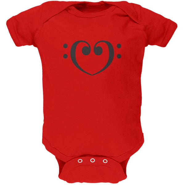 Bass Clef Heart Red Soft Baby One Piece