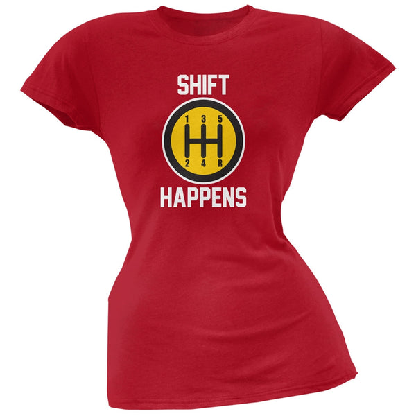 Shift Happens Red Soft Juniors T-Shirt