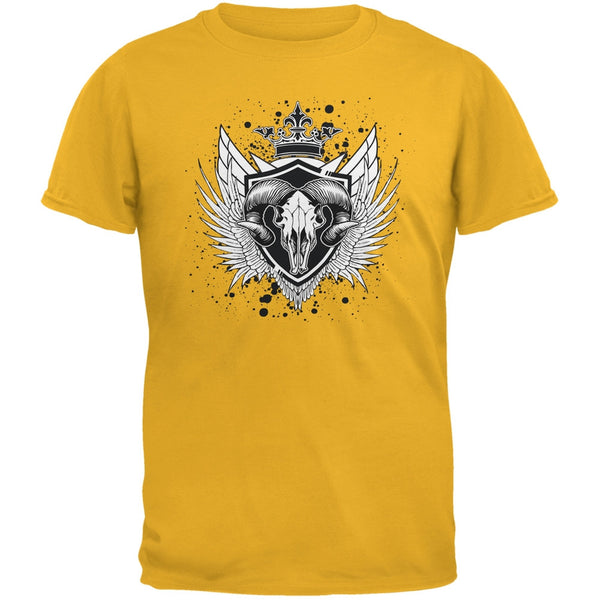Ram Skull Gold Adult T-Shirt