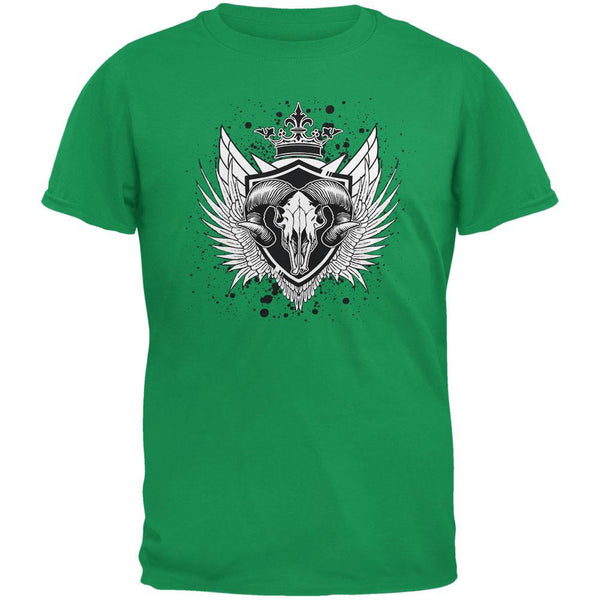 Ram Skull Irish Green Adult T-Shirt