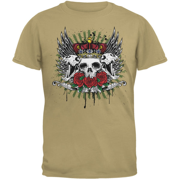 Skull & Roses Tan Adult T-Shirt