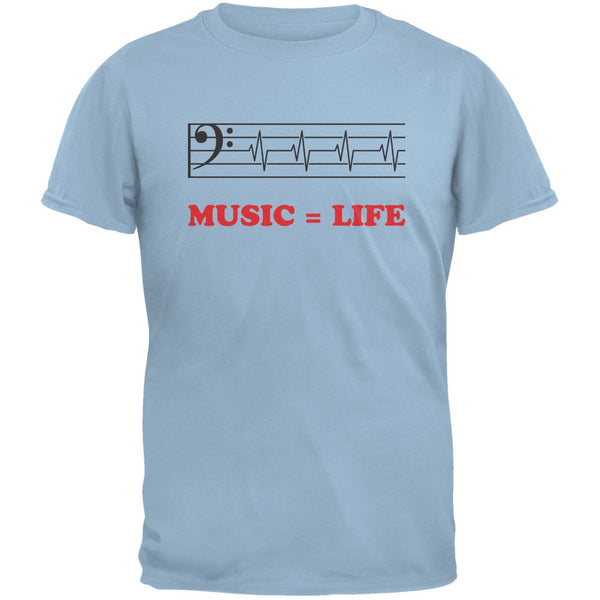 Music=Life Bass Clef Light Blue Adult T-Shirt