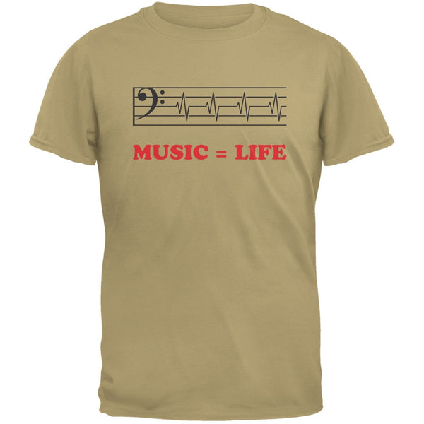 Music=Life Bass Clef Tan Adult T-Shirt