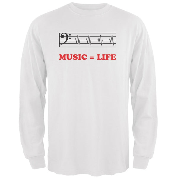 Music=Life Bass Clef White Adult Long Sleeve T-Shirt