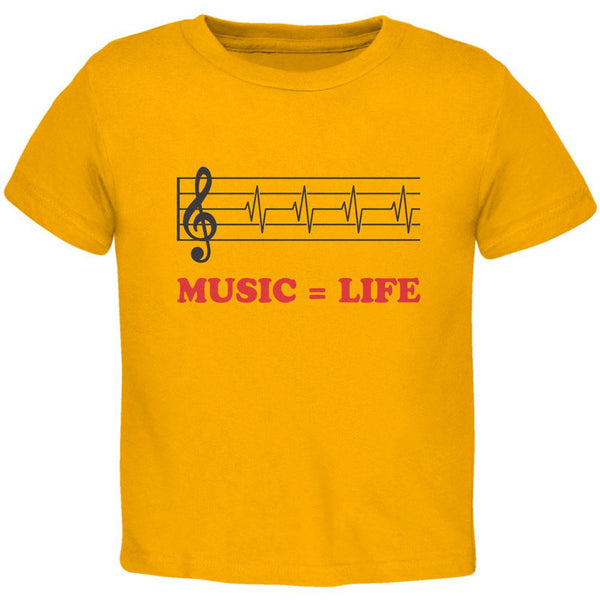 Music=Life Treble Clef Gold Toddler T-Shirt