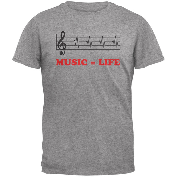 Music=Life Treble Clef Heather Grey Adult T-Shirt