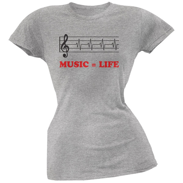 Music=Life Treble Clef Heather Grey Soft Juniors T-Shirt