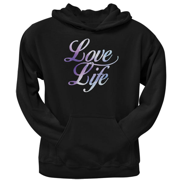 Love Life Watercolor Black Adult Hoodie