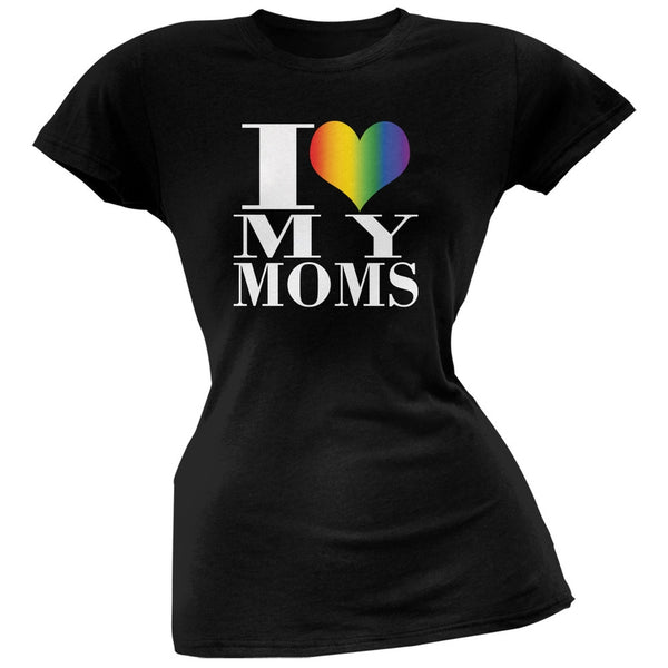 Mother's Day I Love My Lesbian Moms Pride Heart Black Juniors Soft T-Shirt