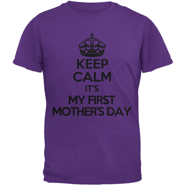 Keep Calm First Mother's Day Purple Adult T-Shirt