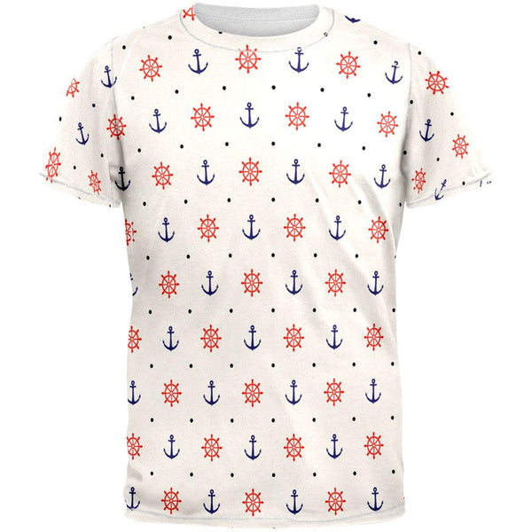 Nautical Pattern All Over Adult T-Shirt