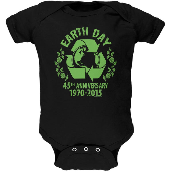 Earth Day - 45th Anniversary Black Soft Baby One Piece