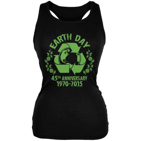Earth Day - 45th Anniversary Black Juniors Soft Tank Top