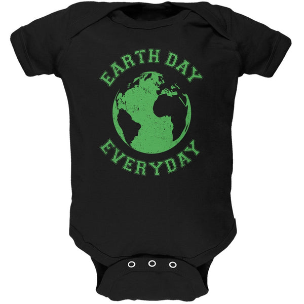 Earth Day - Earth Day Everyday Black Soft Baby One Piece