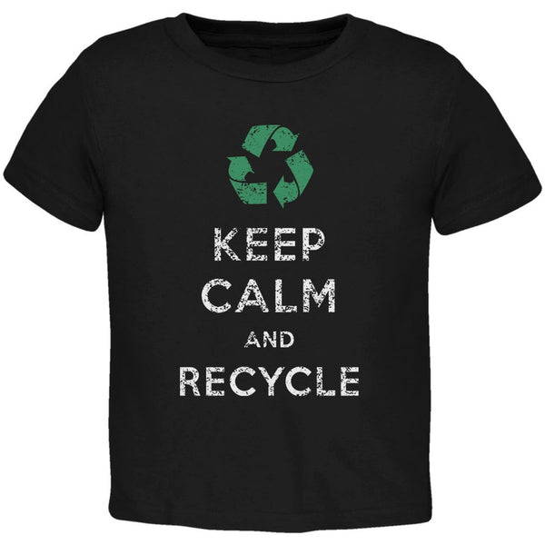 Earth Day - Keep Calm & Recycle Black Toddler T-Shirt