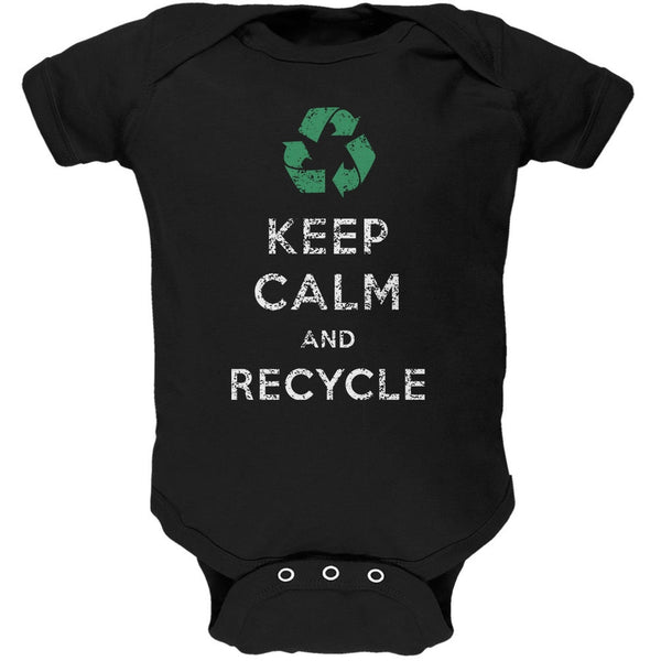 Earth Day - Keep Calm & Recycle Black Soft Baby One Piece