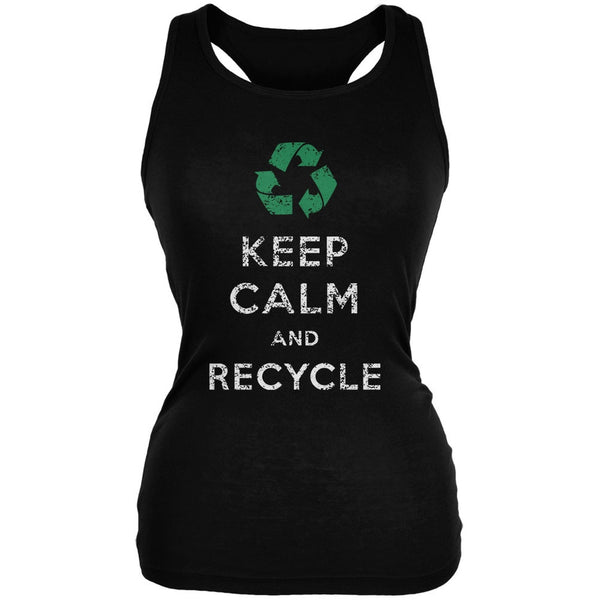 Earth Day - Keep Calm & Recycle Black Juniors Soft Tank Top