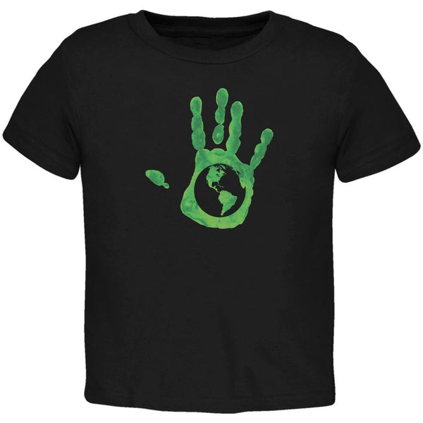Earth Day - Handprint Earth Black Toddler T-Shirt