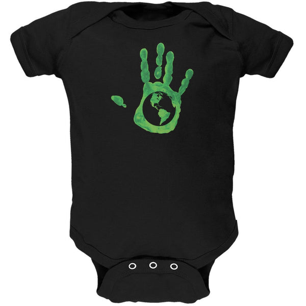 Earth Day - Handprint Earth Black Soft Baby One Piece