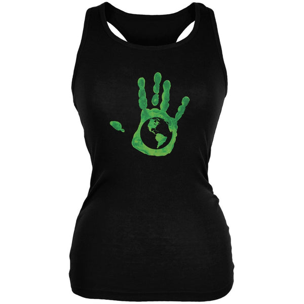 Earth Day - Handprint Earth Black Juniors Soft Tank Top