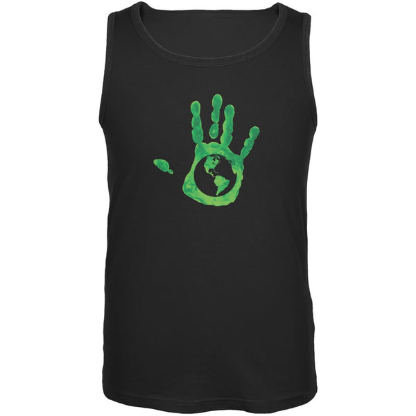 Earth Day - Handprint Earth Black Adult Tank Top