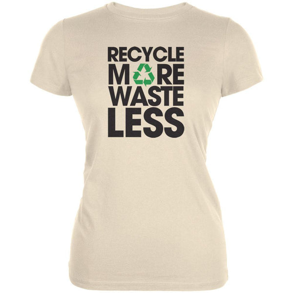 Earth Day - Recycle More Waste Less Cream Juniors Soft T-Shirt
