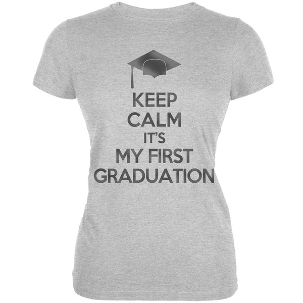 Keep Calm First Graduation Heather Grey Juniors Soft T-Shirt