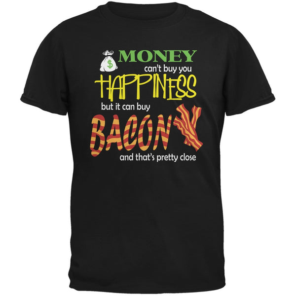 Money Happiness Bacon Funny Black Adult T-Shirt
