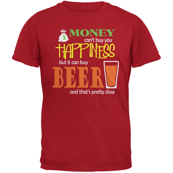 Money Happiness Beer Funny Red Adult T-Shirt