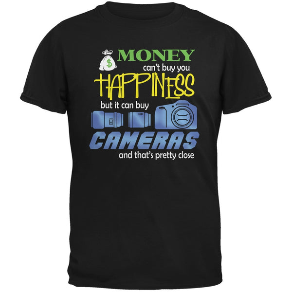 Money Happiness Cameras Funny Black Adult T-Shirt
