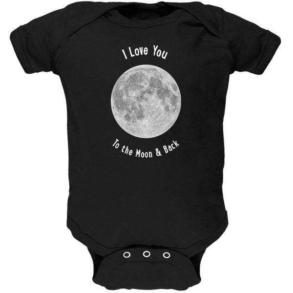 I Love You to the Moon & Back Black Soft Baby One Piece