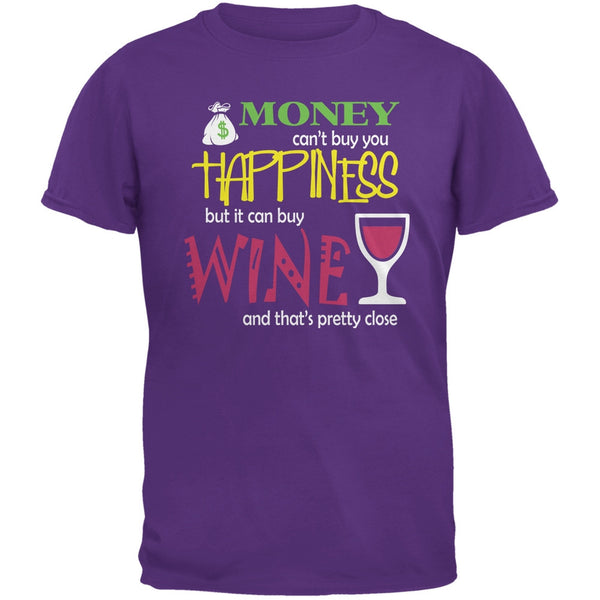Money Happiness Wine Funny Purple Adult T-Shirt