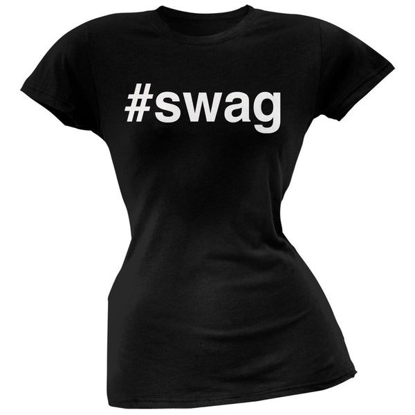 #swag Black Juniors Soft T-Shirt