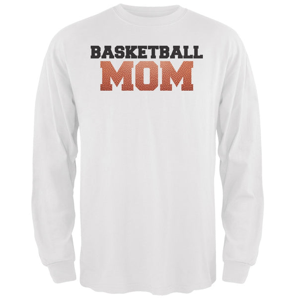 Basketball Mom White Adult Long Sleeve T-Shirt