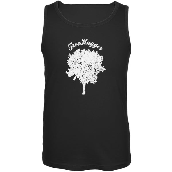 Earth Day - Treehugger Distressed Black Adult Tank Top