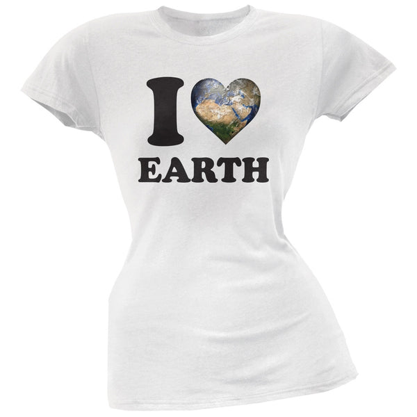 Earth Day - I Heart Earth White Juniors Soft T-Shirt
