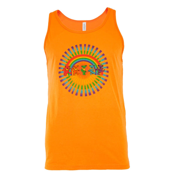 Grateful Dead - Rainbow Bears Neon Orange Adult Tank Top