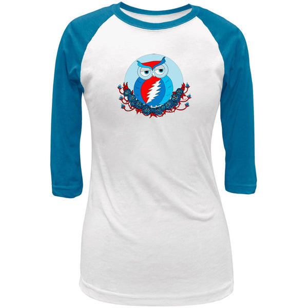 Grateful Dead - Steal Your Face Owl White & Cobalt Juniors Raglan