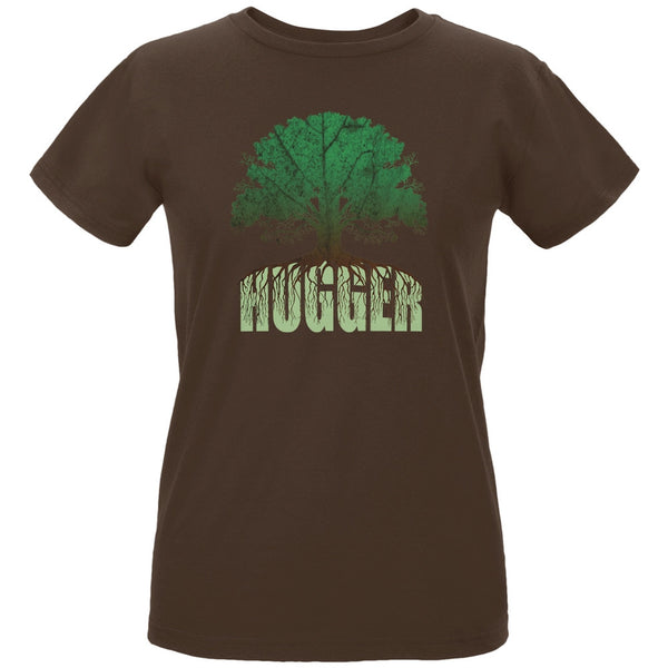 Earth Day - Rooted Tree Hugger Women's Organic Chocolate T-Shirt