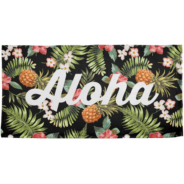 Aloha Flowers Script Pattern All Over Beach Towel