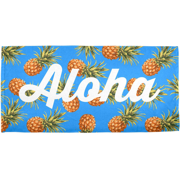 Aloha Pineapple Script Pattern All Over Bath Towel