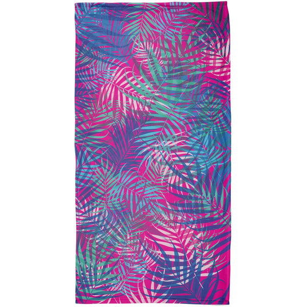 Palm Fronds Tropical Majenta All Over Beach Towel