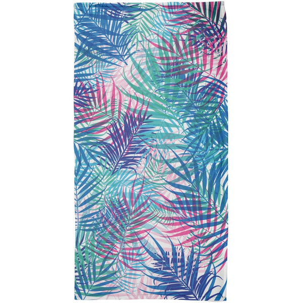 Palm Fronds Tropical White All Over Beach Towel